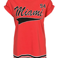 Red Miami Print Short Sleeve Graphic T-shirt