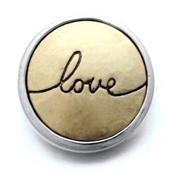 Love Gold/Silver Metal Snap Charm 20mm for Snap Jewelry