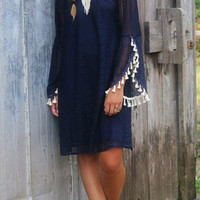 Oh So Boho Navy Off The Shoulder Crochet Dress With Cream Tassels