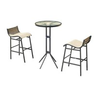 Outsunny 3 pc Outdoor Patio Pub Bistro Table & Chairs Set - Walmart.com