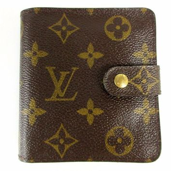 Authentic Louis Vuitton Monogram Compact Zip M61667 PVC Leather 43828
