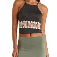 Crochet Cut-Out Racer Front Tank Top by Charlotte Russe