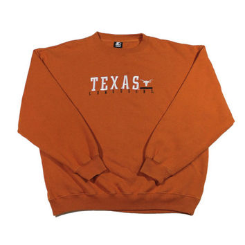 Vintage Starter Texas Longhorns Orange Crewneck Sweatshirt Mens Size XL