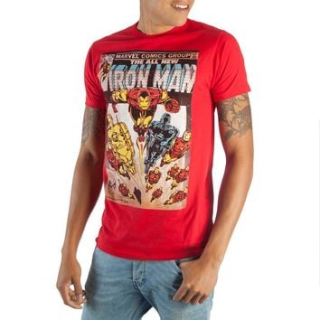 Awesome Marvel Iron Man Comic Book Cover Artwork Men's Bright Red Graphic Print Boxed Cotton T-Shirt
