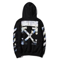 Off white hot seller for couples hoodies, casual printed hoodies White