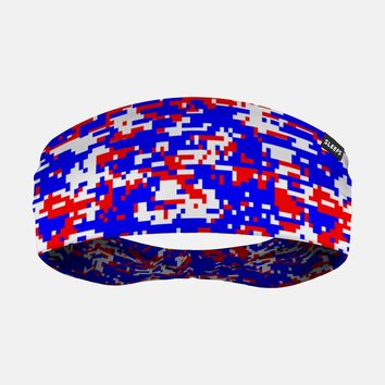 Digital Camo Red White Blue Headband