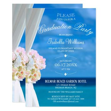 Elegant Floral Ocean Beach Summer Graduation Party Card