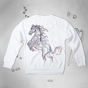Horse Animal Art Graphic Men Women Unisex Sweatshirt Top Sweater Pullover