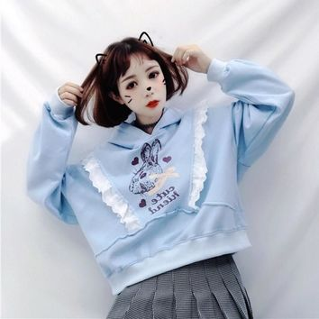 Japan Soft Sister Lovely Print Bunny Women Kawaii Hoodies Korean Girl Lolita Cute Anime Rabbit Lace Sweatshirts Casual Pullover