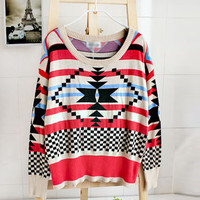 Geometric pattern round neck Bat-sleeved sweater$43.00
