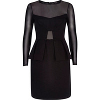 River Island Womens Black sheer panel peplum dress