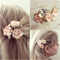 White and Pink Flower Hair Pins Paper Flowers by rosesandlemons