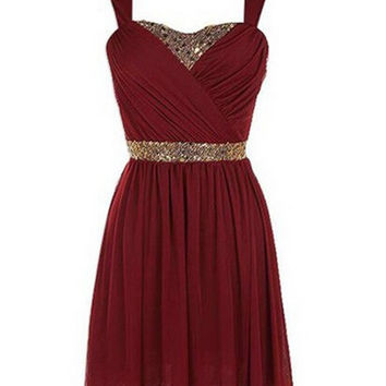 Red Chiffon Homecoming Dresses