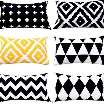 Black and Yellow Geometric - Rectangle Pillow Covers