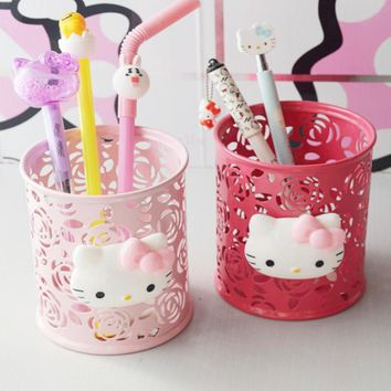 1 Pcs Kawaii Hello Kitty Pink Hollow Metal Pencil Pen Holder Desk Organizer Storage Box Stand Case Student Stationery