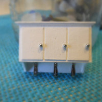 Dollhouse Miniature White Bathroom Cabinet with Hooks 1:12 Scale