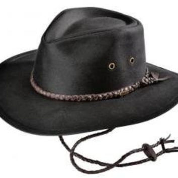 "Large Black ""Grizzly"" Oilskin Hat with Braided Leather Hatband"