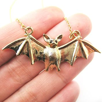 Detailed Bat Shaped Animal Pendant Necklace in Shiny Gold | DOTOLY