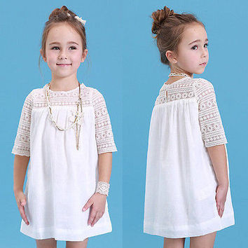 2016 New Kids Baby Girls White Chic Fairy Lace Floral Party Solid Gown Fancy Dresses Baby Summer Casual Dress Clothes