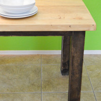 Handmade mahogany wood kitchen table, wood dining table, wood desk, recycled wood, farm table, distressed and stained furniture