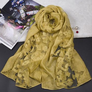 Fashion Design Embroidered Lace Scarves and Shawls for Women Cut flowers Cotton Muslim Hijab Bandana and Pashmina for Ladies