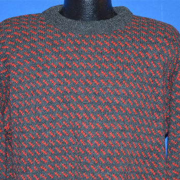 80s LL Bean Gray Red Wool Heavyweight Pullover Sweater Extra-Large