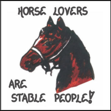 Horse Art Magnet, Equine enthusiasts quote, stables, brown, black mane, bridle