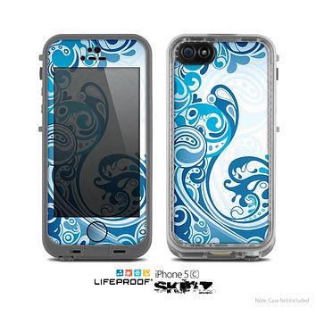 The Abstract Vibrant Blue Swirled Skin for the Apple iPhone 5c LifeProof Case