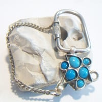 Repurposed Upcycled Turquoise Keychain Southwestern Pod Accessories