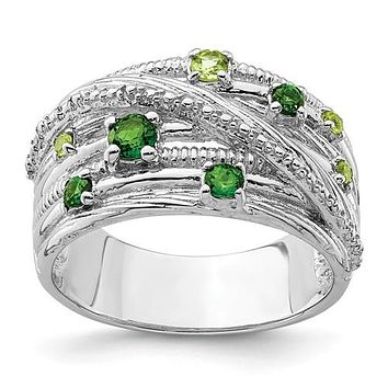 Sterling Silver Chrome Diopside and Peridot Multi Stone Ring