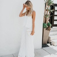 White Sands Beach Embroidered Adjustable Jumpsuit