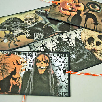 Halloween Tags - Skulls  Rats  - Hairy Spiders - Haunted Houses - Scrapbooking, Crafting Tags, Paper Tags Handmade - Halloween Witching Time