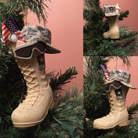 U.S. ARMY™ BOOT WITH USA FLAG, HAT AND SUN GLASSES ORNAMENT