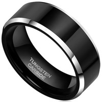 Promotion! TIGRADE 6MM/8MM Titanium Metal Flat Two Tone Black Silver Wedding Band Ring Size 6-15