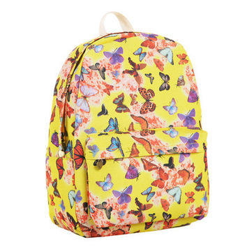 Cute Canvas Animal Stripes Plaid Lovely Floral Striped Korean Backpack = 4888008964