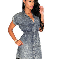 Denim Collared Short Sleeves Dress