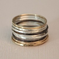 Set of 10 skinny stackable rings  mix metal rings  by moncadeau