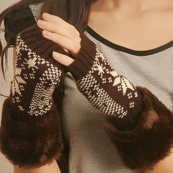 6 colors fingerless gloves texting gloves womens gloves fur trimmed fingerless knit gloves arm warmers,Faux Fur Cuffs Armwarmer-GL3