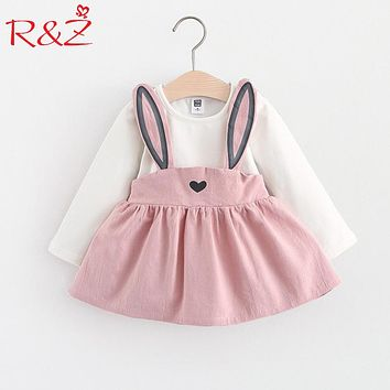 R&Z Baby Dress Long Sleeve Girl Dress 2017 New Autumn Fashion Style Children Clothing Cotton Infant Kids Clothes Cute Rabbit