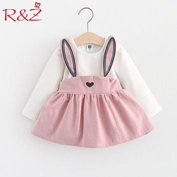 R&Z Baby Dress Long Sleeve Girl Dress 2017 New Autumn Fashion Style Children Clothing Cotton Infant Kids Clothes Cute Rabbit k1