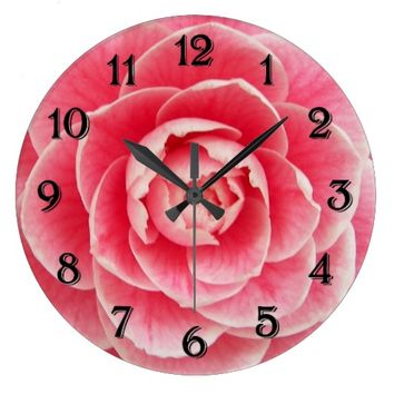Pink Camellia Floral Photo Large Clock