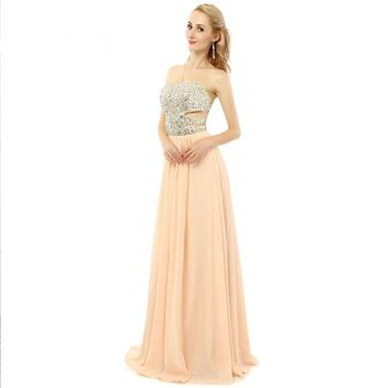 New Beauty Design Prom Dresses Long Beading A Line Sleeveless Sweetheart Chiffon Backless Prom Gowns