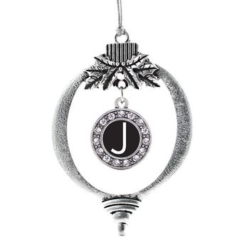 My Initials - Letter J Circle Charm Holiday Ornament