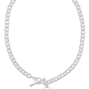 "Sterling Silver Necklaces: 17"" Italian Engravable Heart Necklace With Toggle Clasp"