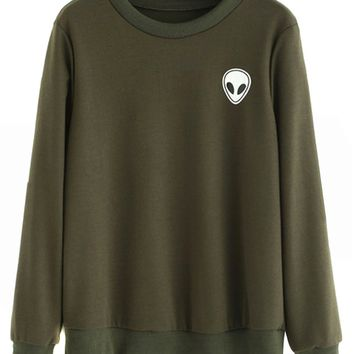Army Green Alien Print Long Sleeve Sweatshirt