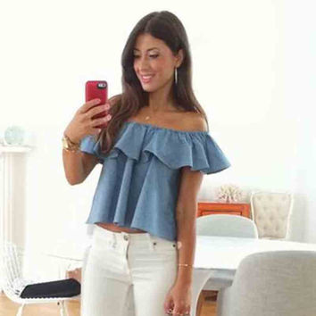 denim shirt women sleeveless blouse strapless slash neck ruffles off shoulder fashion crop top woman tops blouses blusa feminino