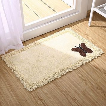 Autumn Fall welcome door mat doormat Bath Mat 100% Cotton  Butterfly Bathroom Rug Hallway Rug Bathroom Floor Mat Absorbent Bathroom Floor Rug Anti Slip Mat AT_76_7