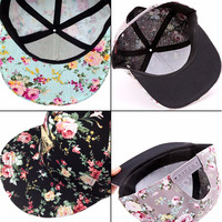 Women Floral Flower Snapback Hip-Hop Hat Flat Adjustable Baseball Cap Fashion Hot Sellling