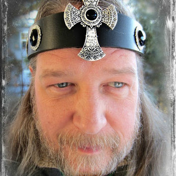 Gothic Cross Headpiece, Kings Crown, Black Onyx Headpiece, Black Leather Headband, Viking, Norse, Burning Man, Ren Fair, Ready to Ship