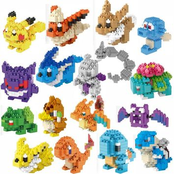 TOP Sale LNO Blocks early educational toys Pikachu Charizard Bulbasaur Squirtle anime doll children Xmas birthday gifts kids toy